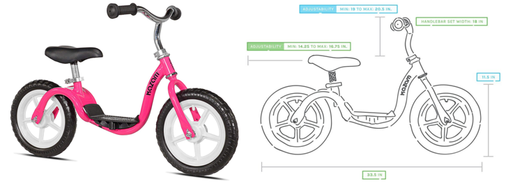 Pink KaZAM Kids Child Balance Bike