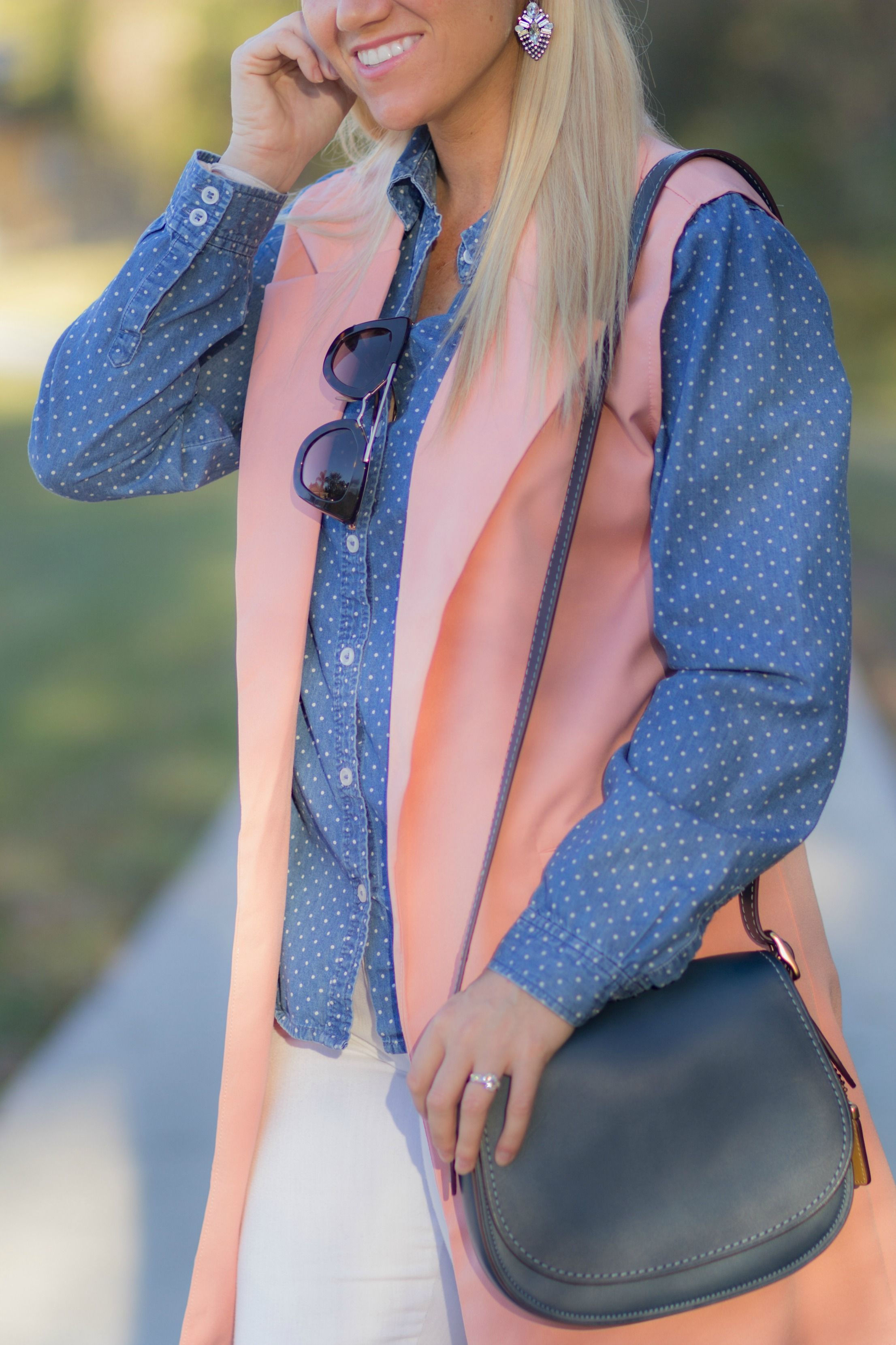 Coral pink duster vest + polka dotted chambray