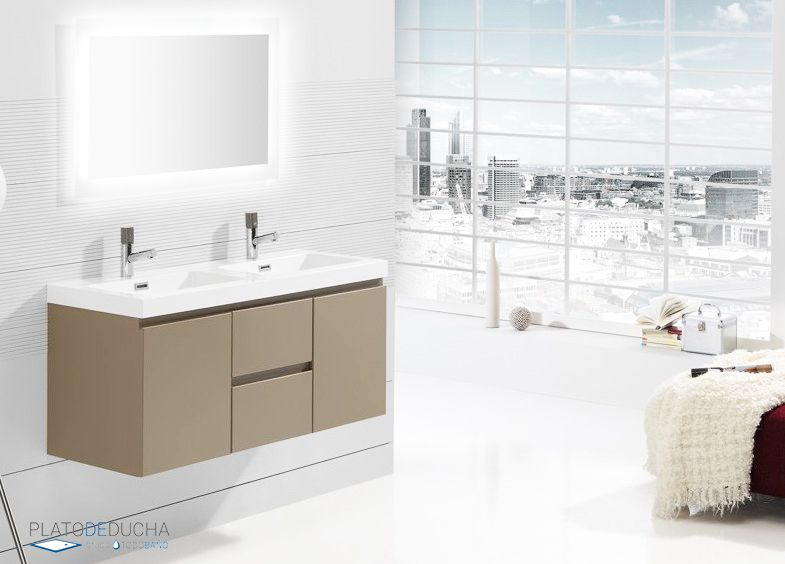 Mueble de ba o noa con lavabo acr lico de doble seno y 2 for Mueble almacenaje bano