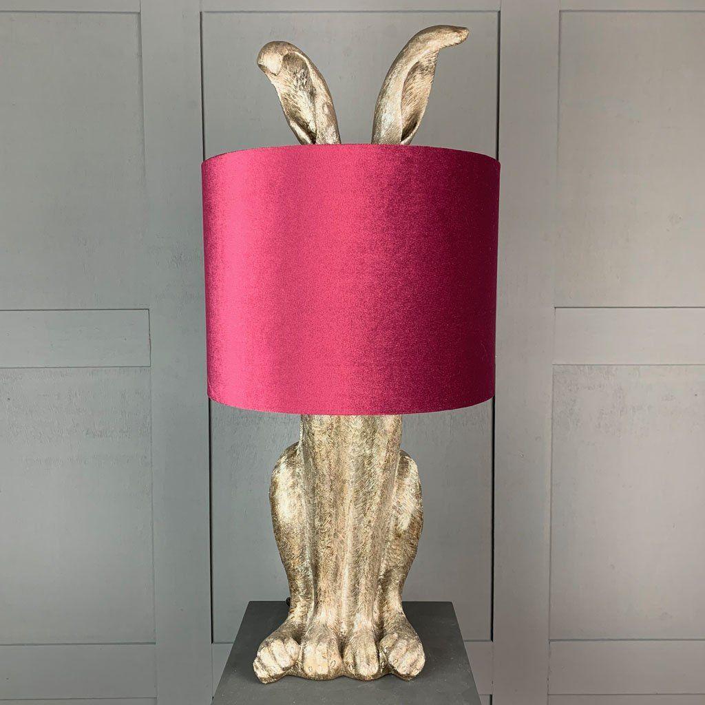 Harvey Hare Antique Silver Table Lamp & Burgundy Velvet