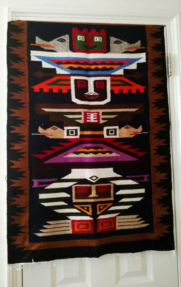 Peruvian Hand Woven Wool Wall Hanging Or Rug Fiber Art