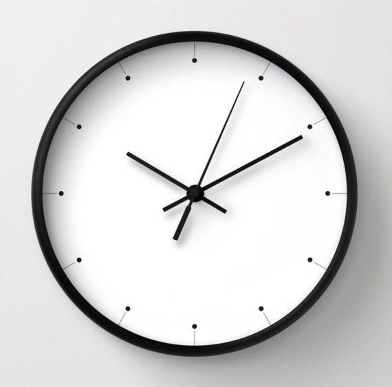 Simple wall clock, black and white clock, minimalist ...