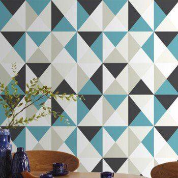 Papier peint intissé Polygone bleu Leroy Merlin Magma - repeindre du papier peint