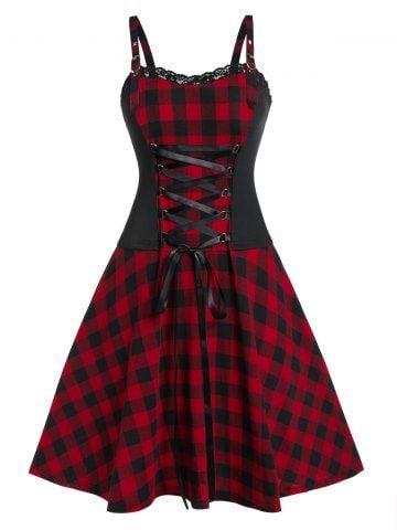 Photo of Plus Size Square Neck Lace Up Print Vintage Lace Splicing Dress