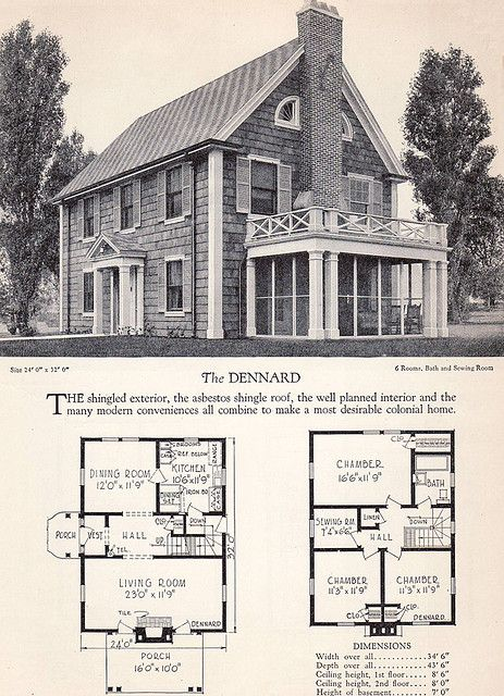 1928 Home Builders Catalog The Dennard Colonial House Plans Vintage House Plans Colonial House