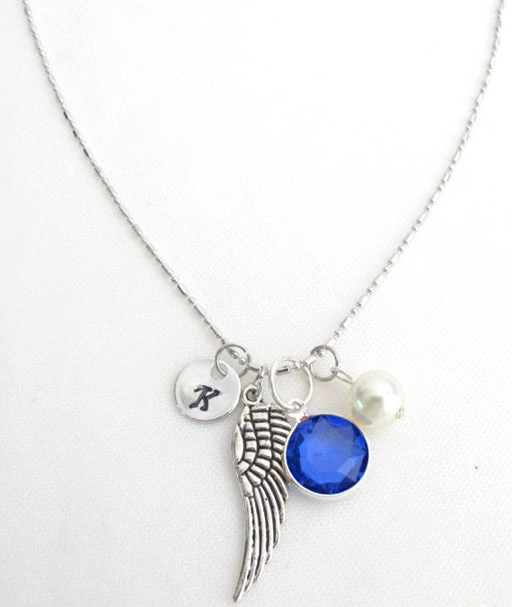 Birthstone necklacepersonalized necklace angel wing necklace birthstone necklacepersonalized necklace angel wing necklace mothers necklace mom name necklace mom initial necklace aloadofball