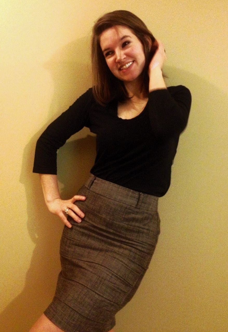 simple work outfit. pencil skirt from Kohls and a plain black top.