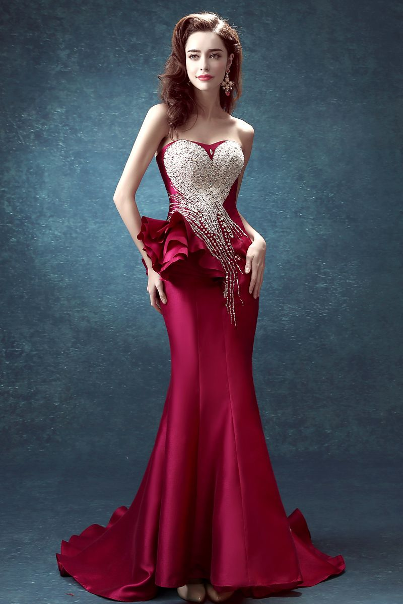 Sequin Crystal Luxury Evening Gowns Peplum Long Formal Dresses | for ...