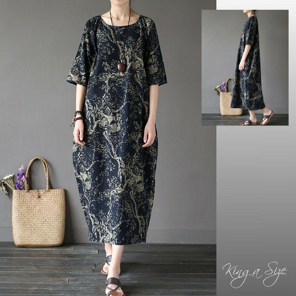 lange kleid lagenlook maxikleid leinenkleid plus size gr.46
