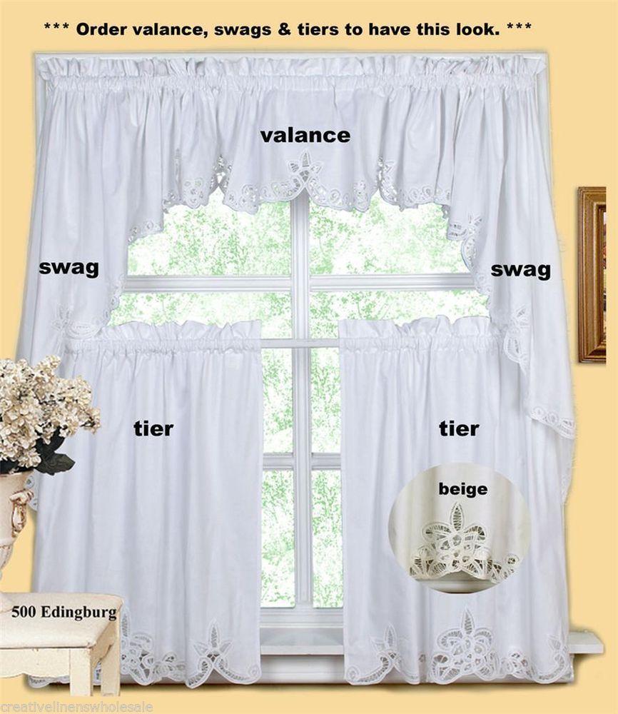 Creative Linens Battenburg Kitchen Curtain Valance Tier Swag White