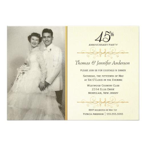 Elegant 45th Wedding Anniversary Party Invitations