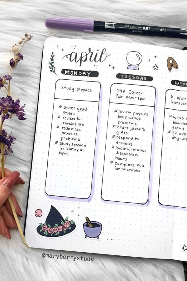 20 Adorable April Weekly Spreads For Bullet Journal Addicts - Crazy Laura