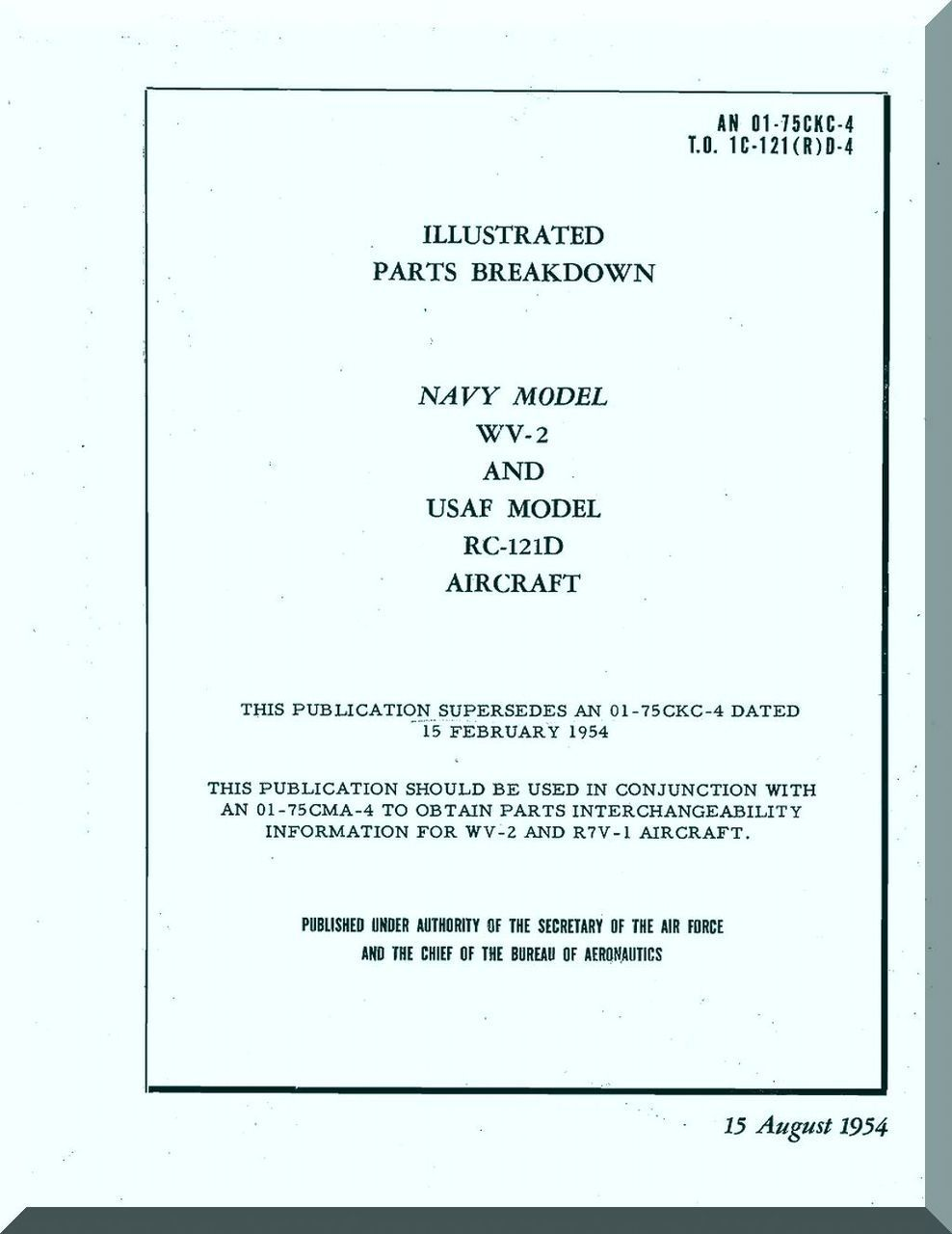 Lockheed Wv 2 Rc 121d Aircraft Illustrated Parts Breakdown Manual Helicopter Diagram An 01 75ckc 4 1954 Reports Manuals Engines