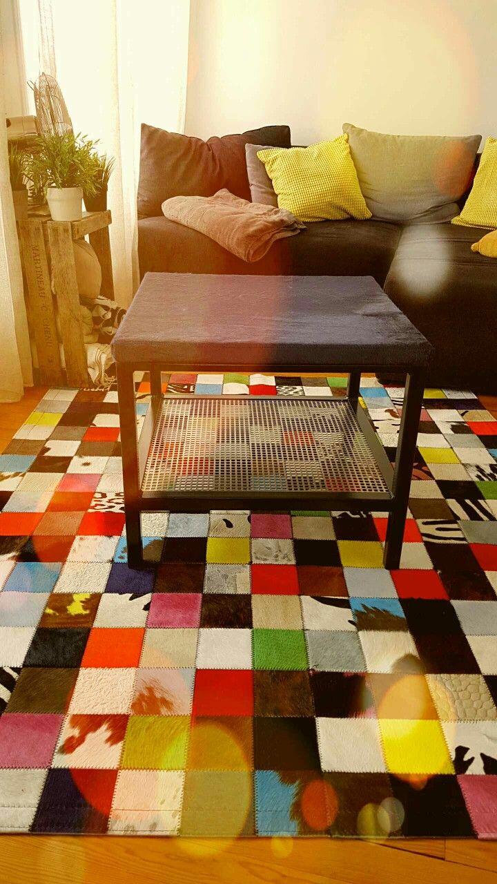 Table Basse Industrielle Avec Plateau En Peau De Vache Gris Coffee Table Design Coffee Table Design Table Basse Table Design