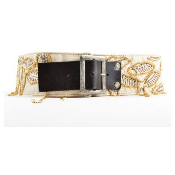 Pre-Owned Dries Van Noten Beige Brown Gold Tone Chain Leaf Embellished... (€99) ❤ liked on Polyvore featuring accessories, belts, neutral, fat belt, beige belt, thick leather belt, real leather belts and brown leather belt