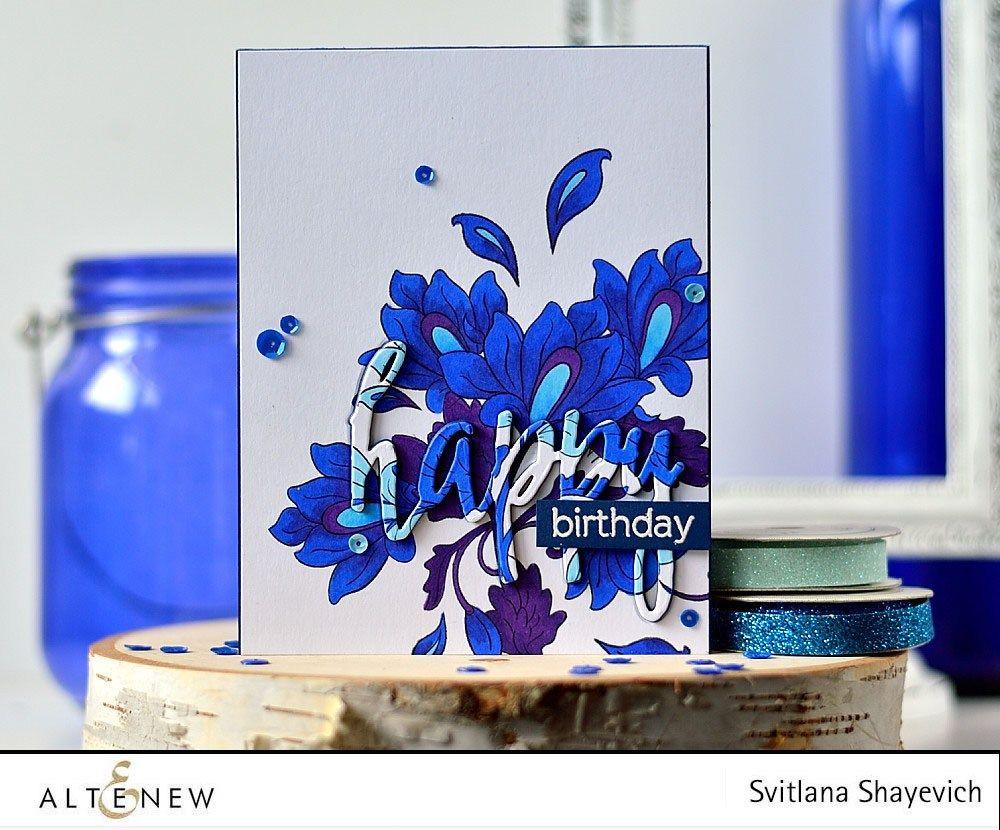 Altenew Persian Motifs Happy Die Card Using Chameleon Pens By