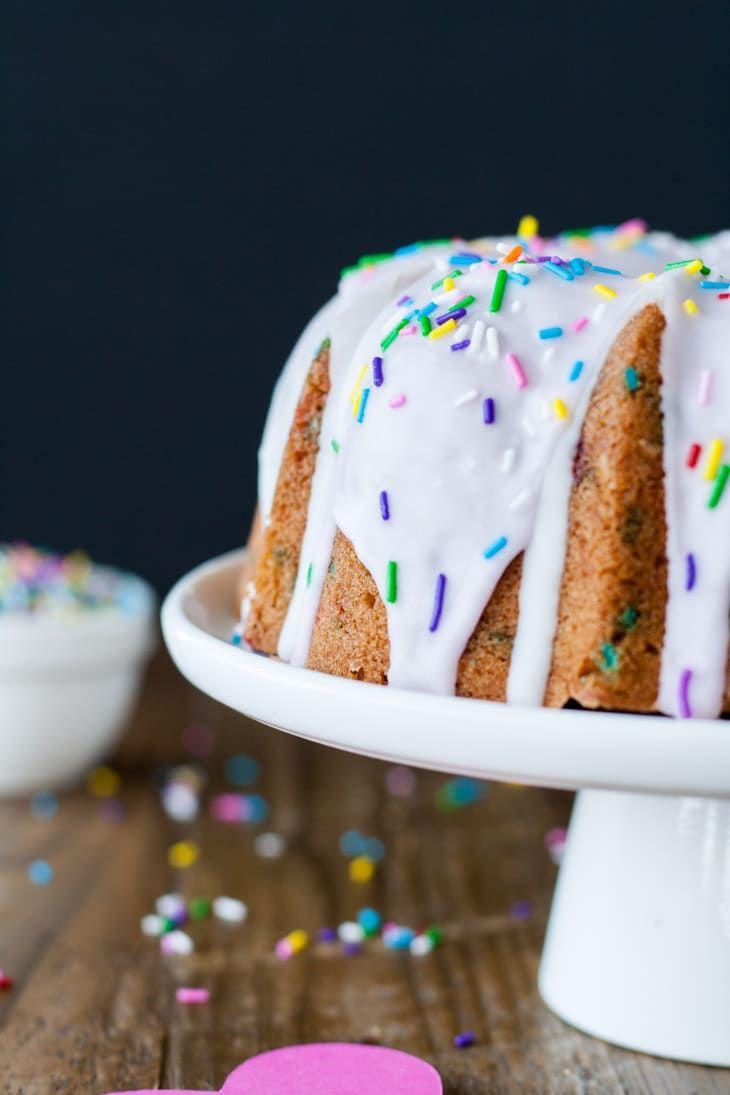 A delicious vanilla funfetti bundt cake topped with a