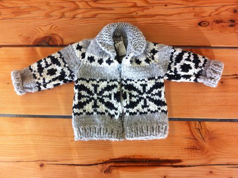 chunky cowichan sweater vest whales kids 2T to 14