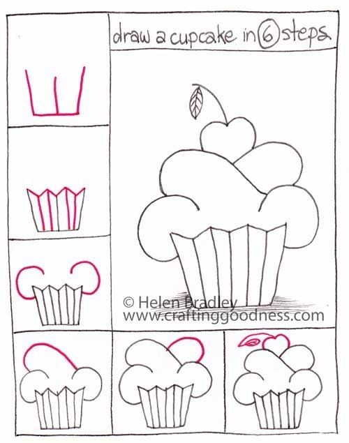 Easy drawings step by step step by step how to draw a cupcake crafting goodness by lori3107