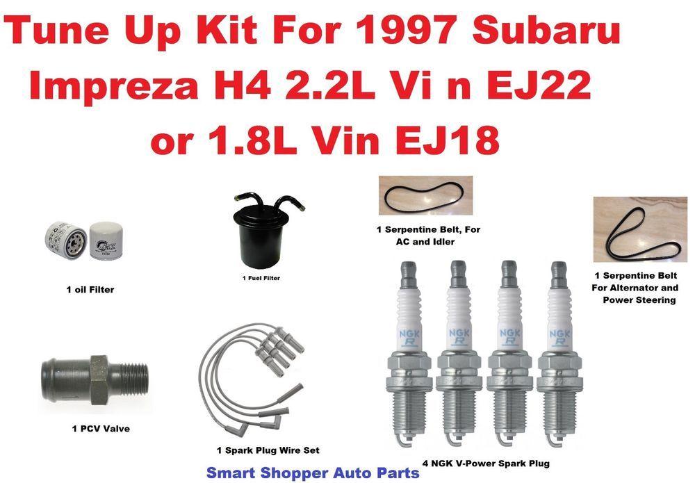 Tune Up Kit 1997 Subaru Impreza Serpentine Belt Oil Fuel Filter Spark Plug Pcv Subaru Impreza Spark Plug Impreza