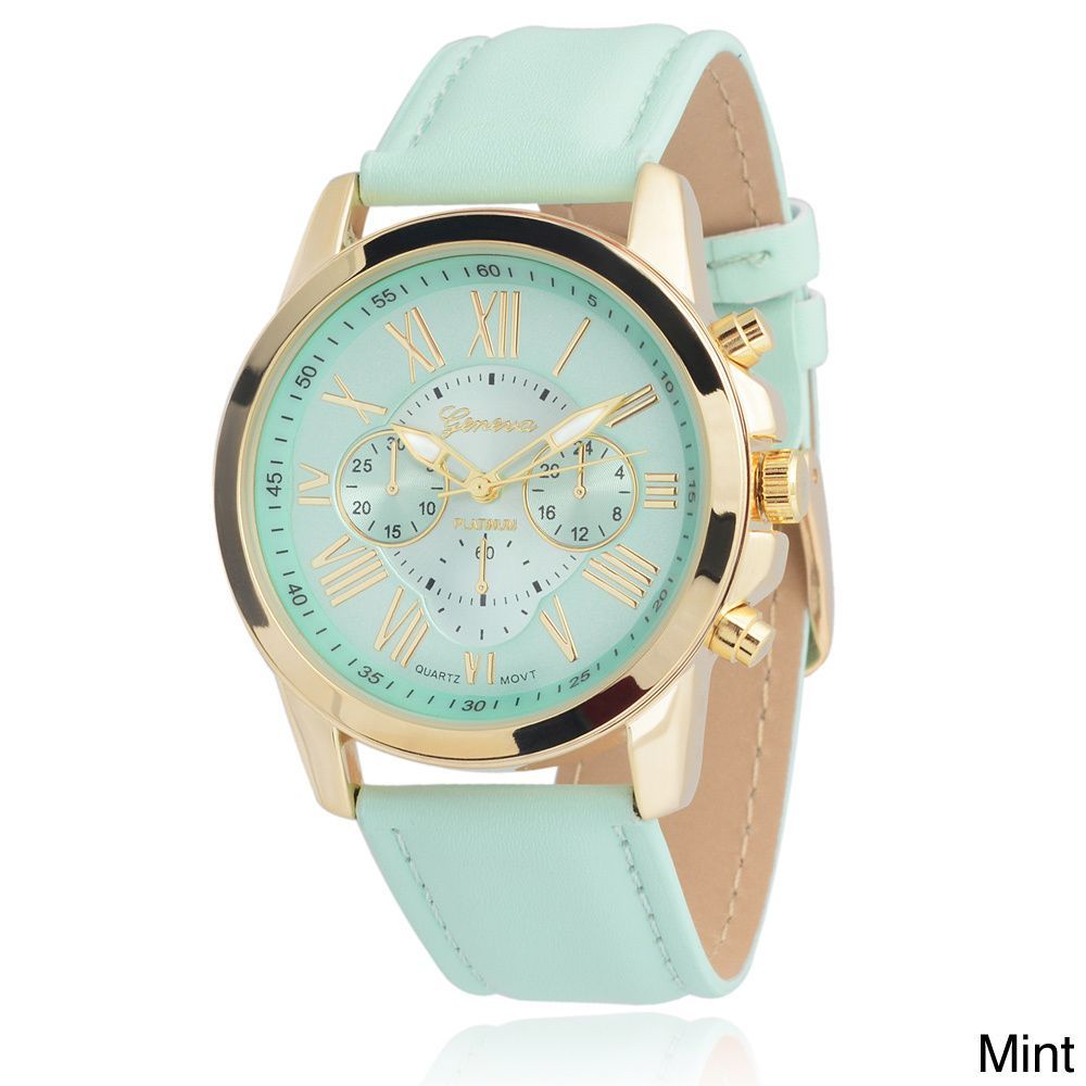 af1544ceaaf Geneva Platinum Women s Faux Leather Chronograph Watch - Overstock™ Shopping  - Big Discounts on Geneva Platinum Geneva Women s Watches