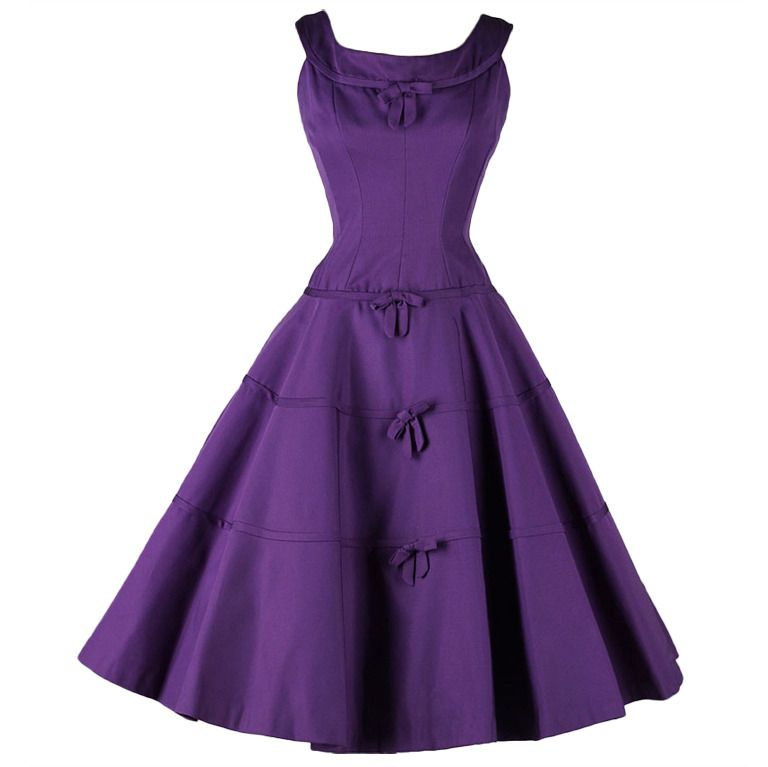1950\'s Suzy Perette Purple Faille Cocktail Dress | Moda años 40 ...