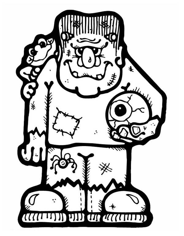 frankenstein coloring pages frankenstein frankenstein with an eye ball coloring page - Frankenstein Coloring Page
