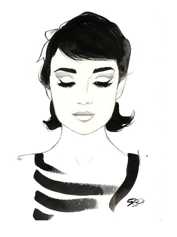 Watercolor Fashion Illustration -Audrey Always print by Jessica Durrant