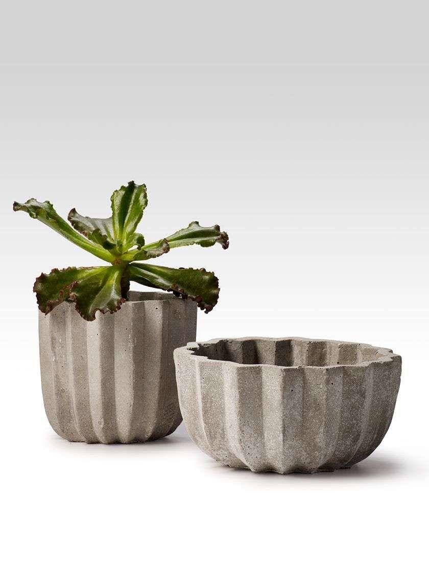 6 X 5in Cement Pleated Pot Cement Vase Concrete Vases Cement