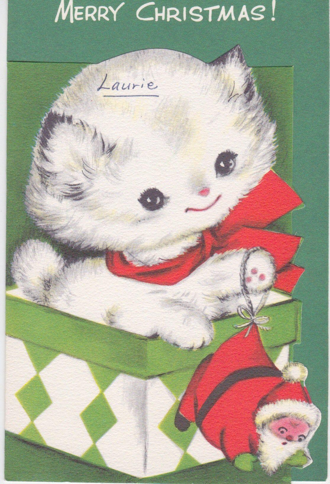 Cute pre-owned 1950s card for kids -- sweet white kitten in a gift box #whitekittens