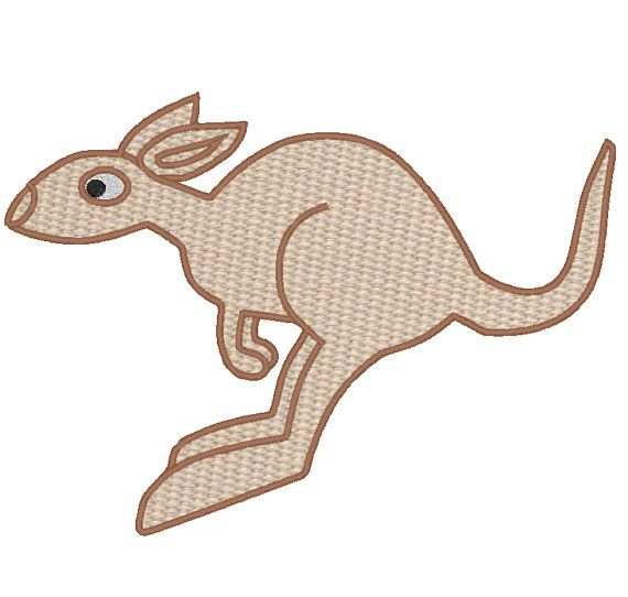 Kangaroo Machine Embroidery Fill Stitch And Applique Design