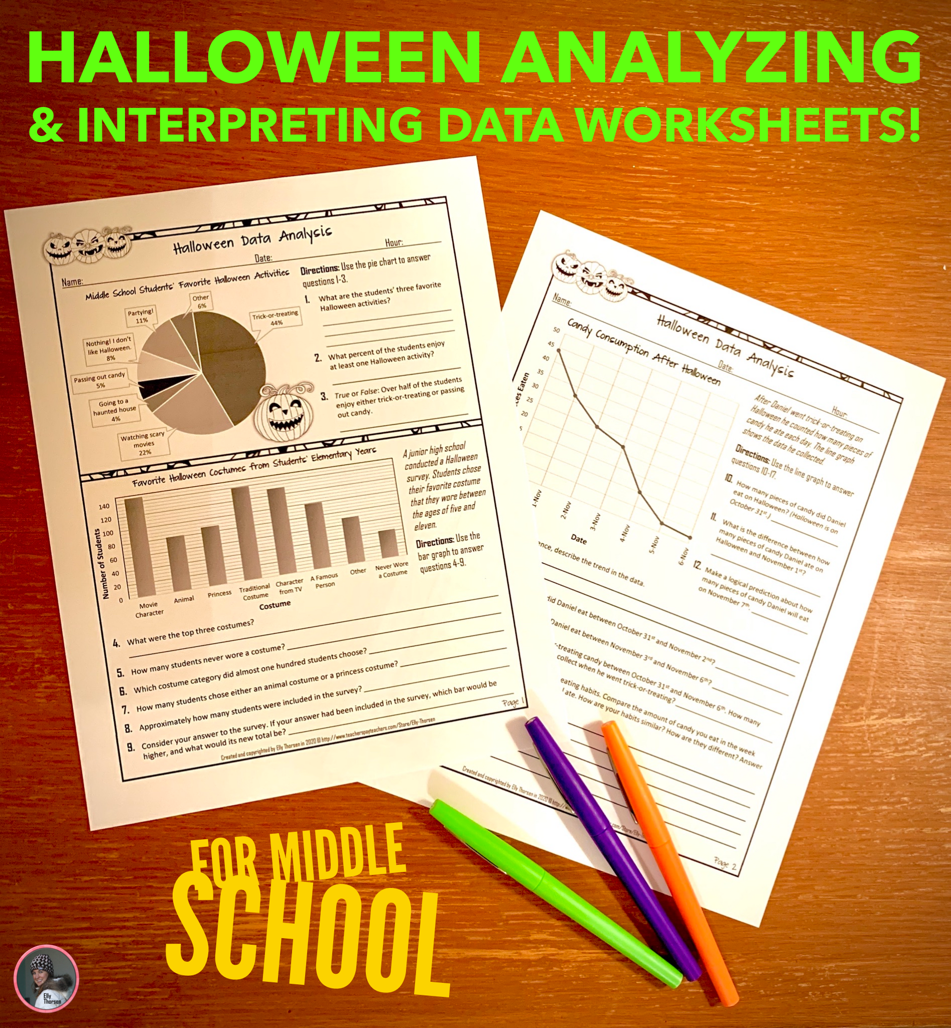 Halloweenyzing And Interpreting Data Worksheet For