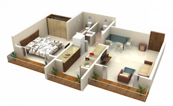 25 one bedroom house apartment plans double baths and a narrow kitchen might make this a good options for a couple just starting out