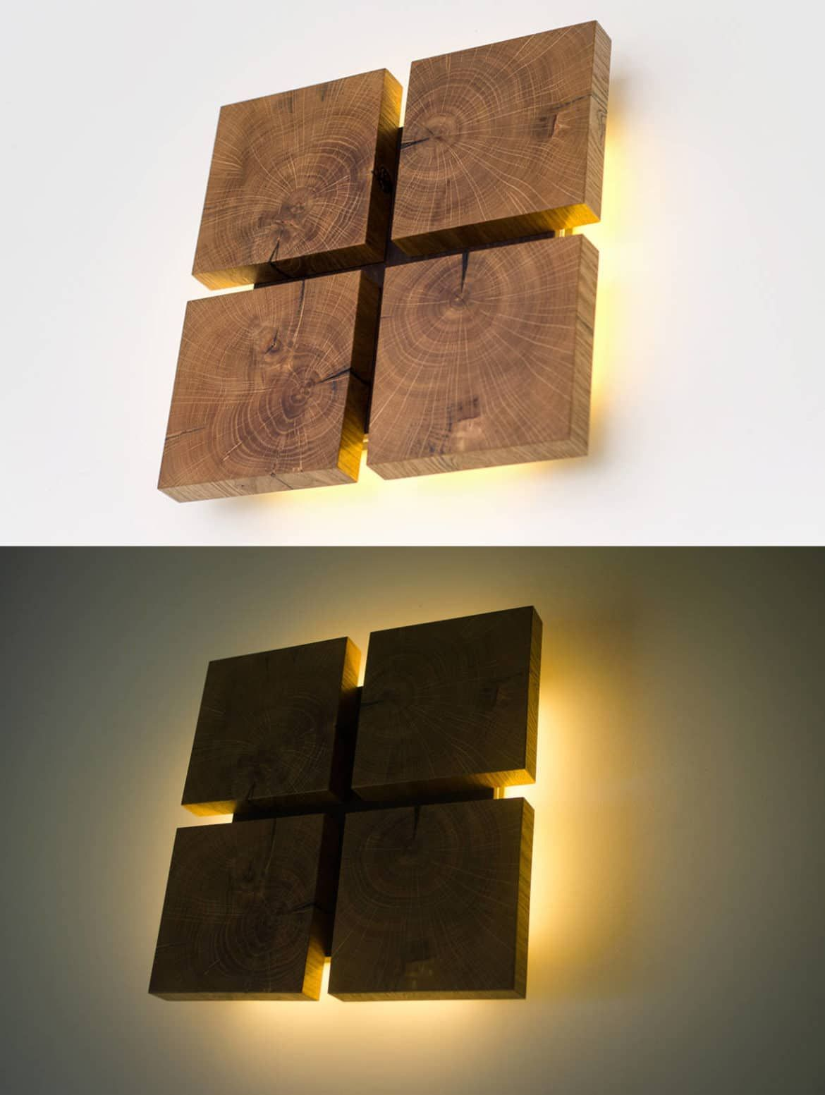Square Wooden Oak Sconce Id Lights Wooden Wall Lights Wood