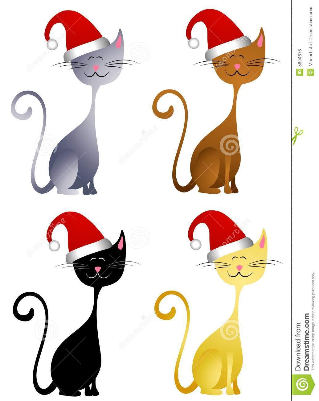 cat wearing christmas hat clip art free clipart free clipart rh pinterest com black cat christmas clipart christmas cat clipart