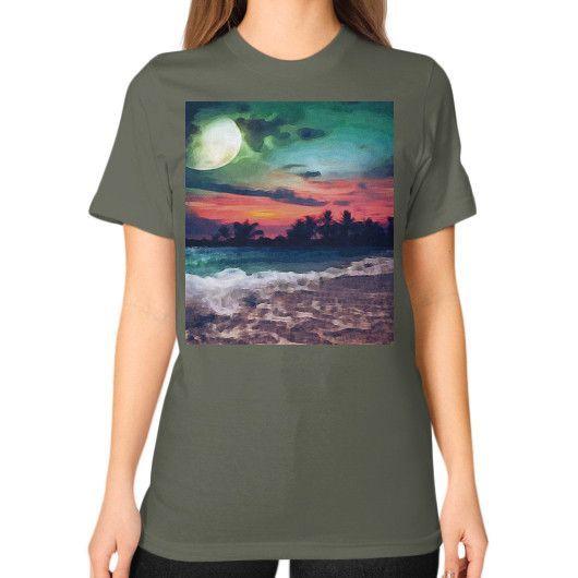 """Moonlight Over Sea,"" Unisex T-Shirt (on woman)"