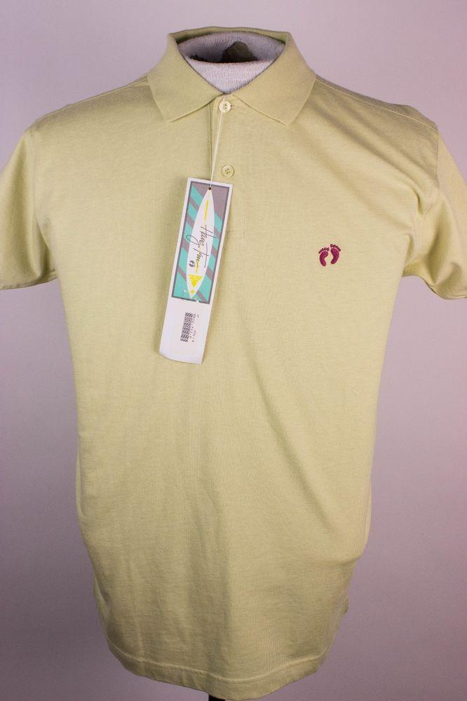 8e3c481d452 Hang Ten Mens Sz M Greenish Yellow Foot Logo Polo Rugby Shirt  HangTen   PoloRugby