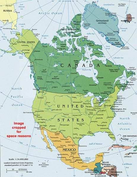 Geographical Map Of America.North America Political Map Geographical United States
