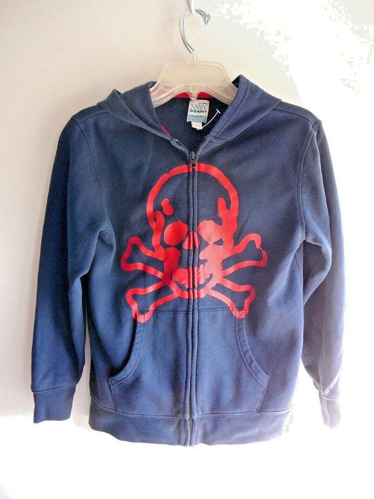 d0353083 Old Navy Hoodie Kids Youth L 10-12 Skull & Crossbones Blue Zip Pockets Red  Art #OldNavy #Hoodie #Everyday