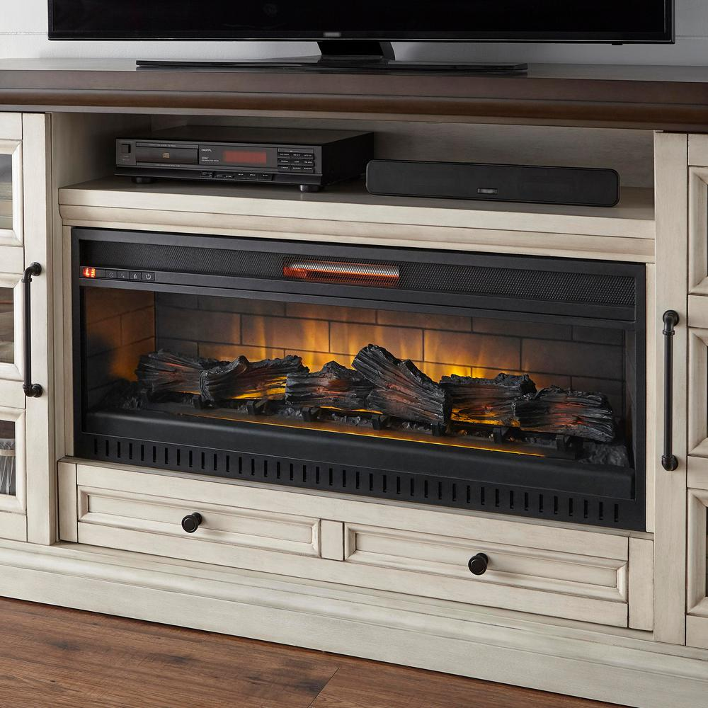 Home Decorators Collection Cecily 72 In Media Console Infrared Electric Fireplace In Antique White Wi Electric Fireplace Electric Fireplace Tv Stand Fireplace