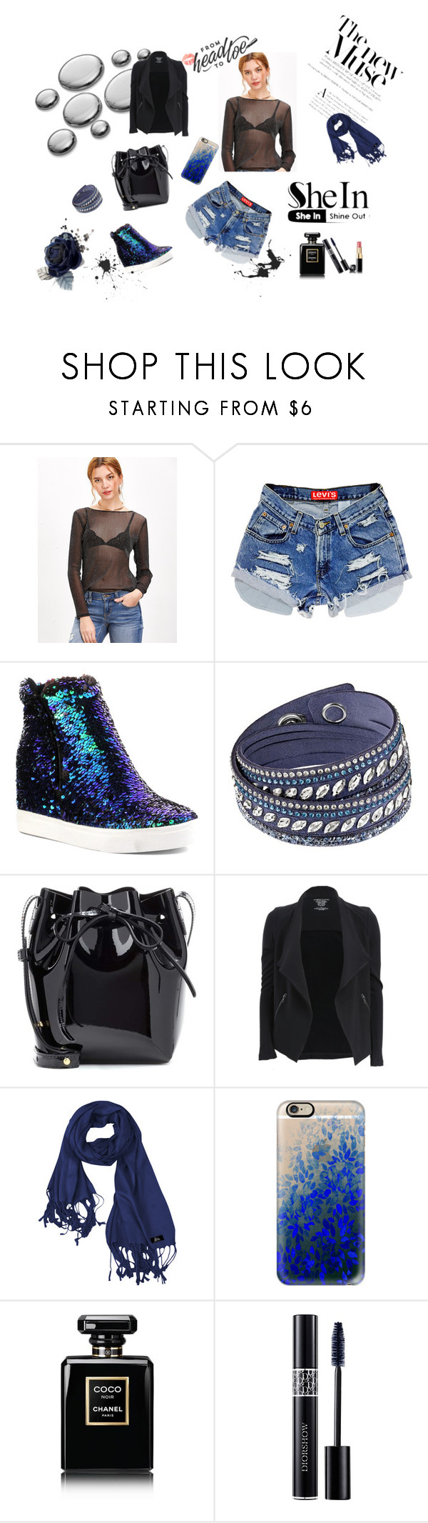 """""""Black sheer sparkle top-SheIn"""" by lamija2015 ❤ liked on Polyvore featuring Cape Robbin, Swarovski, Mansur Gavriel, Majestic Filatures, Casetify, Chanel and Christian Dior"""
