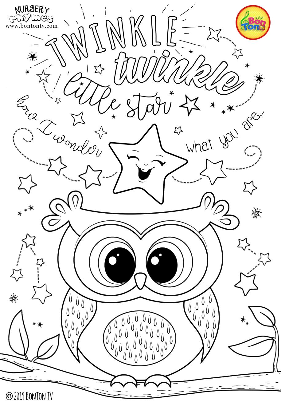 Nursery Rhymes Coloring Pages Free Preschool Printables For Kids Twinkle Twinkle Little Sta Owl Coloring Pages Unicorn Coloring Pages Kids Coloring Books