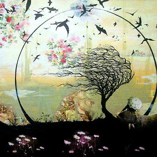 Girl & Tree, Mixed media by Juliet Goddard  http://www.redbubble.com/people/julietg