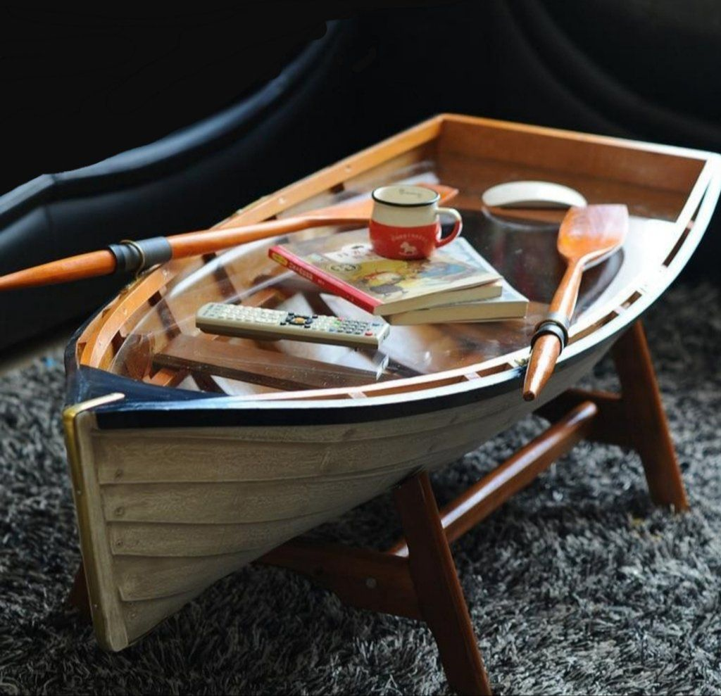 Nautical Row Boat Table With Glass Top Boat Table Living Room Coffee Table Row House Design [ 989 x 1024 Pixel ]