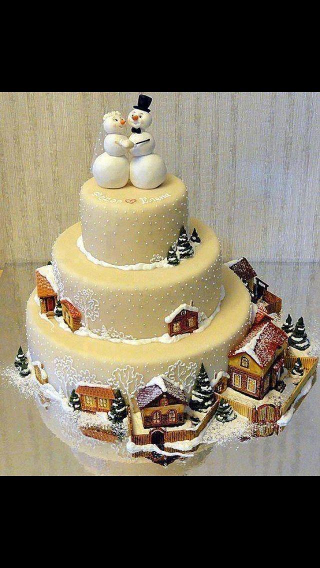 Christmas cake Christmas wedding cakes, Winter cake
