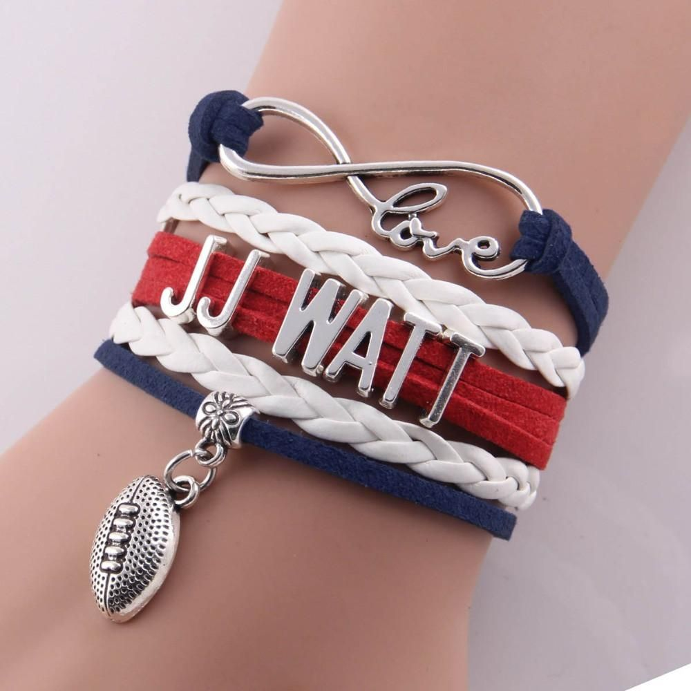 Little minglou infinity love jj watt bracelet football charm leather