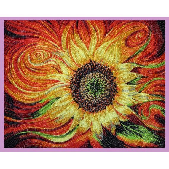 Bead Embroidery Kit Flowers Sunflowers DIY Beadwork kit Beading kit Hand embroidery Beaded Stitching