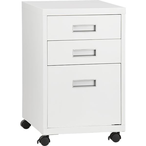 3-Drawer White Metal Cabinet In Filing Cabinets, Carts