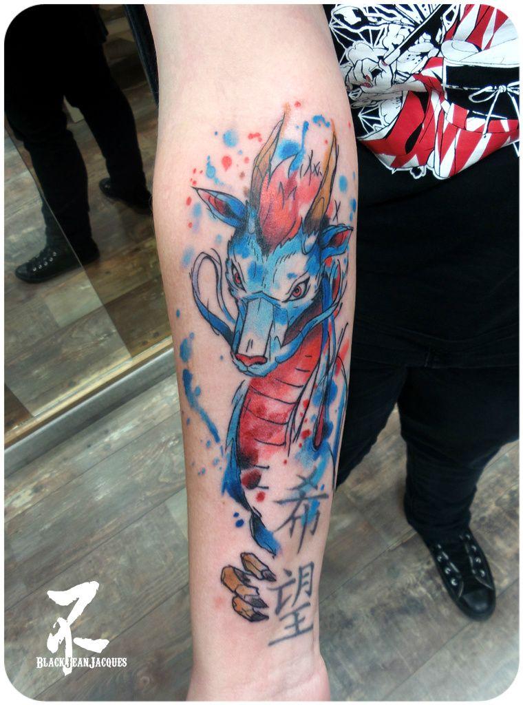 Haku Dragon Spirited Away Tatto Watercolor Dragon Tattoo Ghibli Tattoo Nerd Tattoo