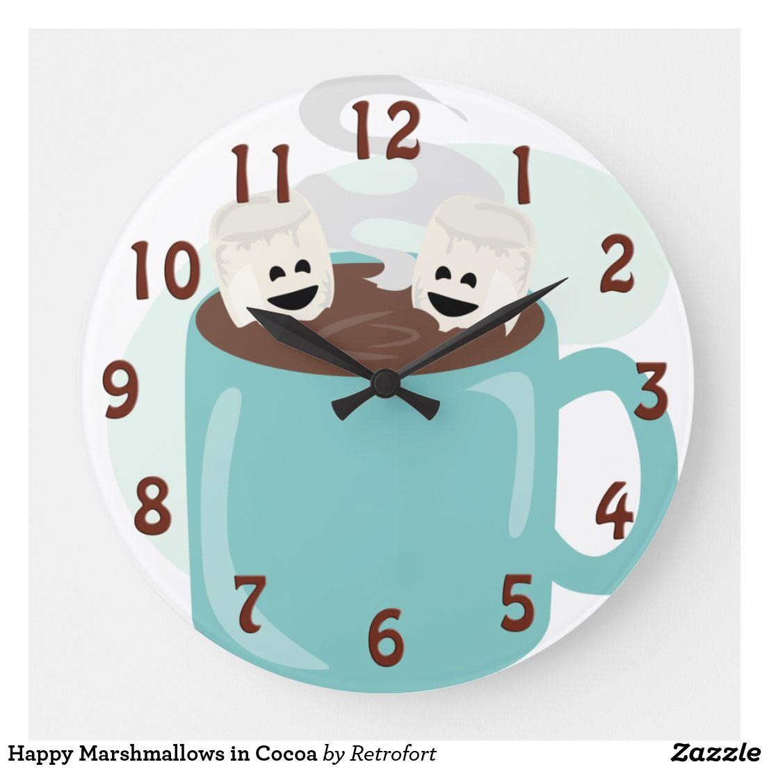 Happy Marshmallows in Cocoa Large Clock | Zazzle.com #cutemarshmallows